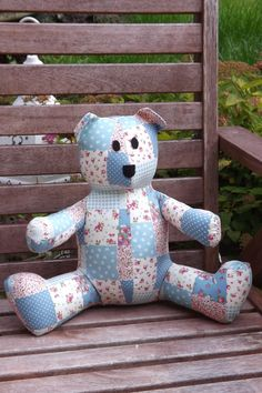 Handmade Med Turquoise Teddy Bear by clares quilts and soft toys at folksy