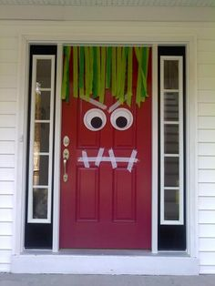 "Monster Door:  2 Paper Plates,  Green Crepe Paper (15-20 15"" strips),  Black cardstock,  Duct Tape.  Stick crepe paper strips to duct tape and stick on top of door. Make eyebrows and mouth from duct tape strips. Cut circles from cardstock and attach to plates. Tape eyes to door"