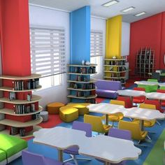School Building Design, School Library Design, Daycare Design, Playroom Design, Kindergarten Interior, Kindergarten Design, Kids Church Decor, School Furniture, Minimalist Room