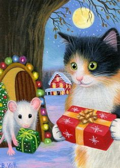 Calico-kitten-cat-mouse-tree-Christmas-snow-gifts-original-aceo --- by Bridget Voth