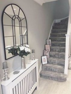 Trendy Stairs Runner Gray Banisters Effective Images We . - Trendy Stairs Runner Gray Banisters Effective pictures that we offer via Hoffz venster - Home Decor Inspiration, Hallway Decorating, House, Home, Living Room Decor Apartment, House Entrance, Cozy Home Decorating, Stairs In Living Room, House Interior Decor