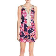 Lilly Pulitzer 'Valli' Soutache Print Jacquard Sheath Dress (805 BRL) ❤ liked on…