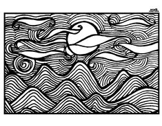 Tree & River Nature Scene Coloring Page - Coloring for ...