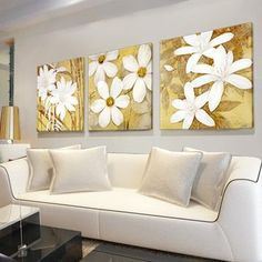 Hand painted frameless oil painting white flowers $53.80