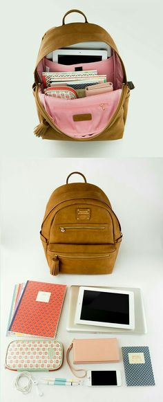 A stylish leather backpack that's perfect for school. Rain-proof exterior, a built-in cushioned laptop pocket, 10 other pockets for storage, and tons of room for books and school supplies. Check out all 5 super cute colors! My Bags, Purses And Bags, Mode Hipster, School Supplies, Shoe Bag, Stylish, My Style, Style Hair, Gifts