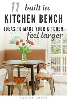 We are wild about Kitchen bench seating. Kitchen bench seating is a great way to save space in your kitchen. The Kitchen is a central gathering place in the home so it is important for it to feel spacious. Keep reading as we share 11 built-in kitchen bench ideas to make your kitchen feel larger. Hadley Court Interior Design Blog by Central Texas Interior Designer, Leslie Hendrix Wood.