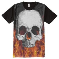 Shop Skull T-Shirt created by paranormaloutfitter. Personalize it with photos & text or purchase as is! Kids Shirts, Cool T Shirts, Skull Fire, Stylish Shirts, Halloween Shirt, Personal Style, Prints, Mens Tops, Skulls