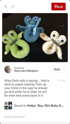 "The owls I made for Kacy's baby shower, a wise young boy is what I was going for as well as a saying on a stick glued saying ""train up your child in the way you should go and when he is old he will come back to it."" God chose that verse for a reason maybe not the baby maybe the parents."