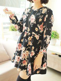 Floral Black High Waisted Dress