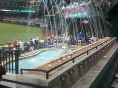 The Arizona Diamond Backs Stadium has a swimming pool-- but beware! It's not used if its below 70 degrees!