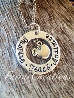 Teachers Gift Hand stamped washer Necklace by FarrarCreations, $30.00