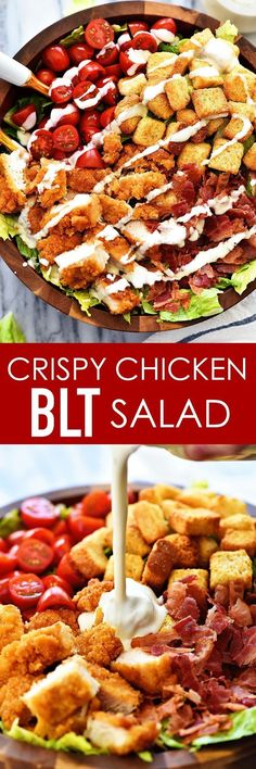 Where are all my salad lovers at? I am a hard-core salad loving girl. They are definitely in my top 10 favorite things to eat. There are about million ways you can make them and that's probably why I love them so. This CRISPY CHICKEN BLT SALAD Healthy Recipes, Cooking Recipes, Dishes Recipes, Easy Recipes, Cooking Time, Vegetarian Recipes, Crispy Chicken Salads, Grilled Chicken Salad, Gastronomia