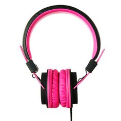 pink retro headphones