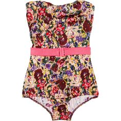 Zimmermann Savannah floral-print strapless swimsuit ($330) ❤ liked on Polyvore featuring swimwear, one-piece swimsuits, swimsuits, bathing suits, swim, bikinis, bikini swimsuit, swim suits, floral bikini and one piece swimsuits