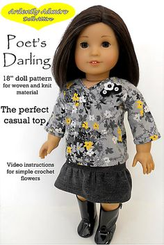 Ardently Admire Poet's Darling Top Doll by PixieFairePatterns, $3.99