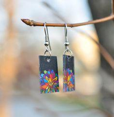 Stained glass shrinkydink mum earrings by WearetheMenards on Etsy
