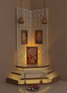 Pretty Up your Puja Room with Discern Living's design and decor ideas. From walls and corners to lighting ideas, find all you need to beautify your puja room. Pooja Room Design, House Design, Room Design, Pooja Rooms, Indian Home Decor, Temple Design For Home, Room Door Design, Home Temple, Pooja Room Door Design
