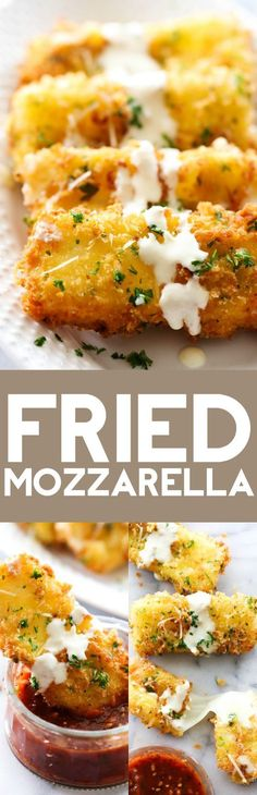 This Fried Mozzarella is simple, delicious and a perfect appetizer. The outside is crispy with a gooey soft cheesy inside. It is drizzled with Alfredo and paired with Marinara. The flavor combo makes this one outrageously tasty party food!