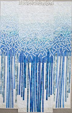 Sarah Pinyan posted Pia Puonti - Sense of Snow to her -nice signs- postboard via the Juxtapost bookmarklet. Strip Quilts, Blue Quilts, Quilting Projects, Quilting Designs, Diy Projects, Tree Quilt, Quilt Art, Landscape Quilts, Landscape Art