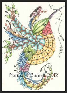 "Fairy Tangles: Nest Building - ""Who Me? Tangle Doodle, Tangle Art, Zen Doodle, Doodle Art, Zentangle Drawings, Doodles Zentangles, Zentangle Patterns, Adult Coloring Pages, Coloring Books"
