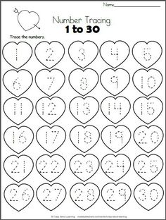 Free Heart Math worksheet. Trace the numbers from 1 to 30 on the hearts. This worksheet is a perfect valentine number practice printable for preschool and kindergarten students who are still learning their numb by annmarie