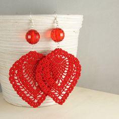 Red Crochet Earrings by BizarreAccessories on Etsy,