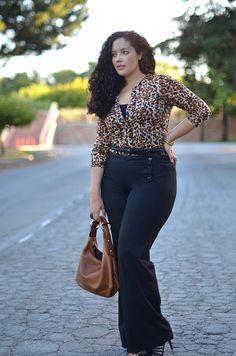 Cheetah Print Top: Thrifted    Black Tank: Target    Braided Belt: H    Brown Stone Ring: Forever 21    Bangles: Street Vendor, India  Onyx Stone Ring: c/o Katz Jewelry    Handbag: Gucci   High-Waisted, Wide Leg Slacks: Express