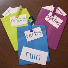 """-- """"Gift Bag Grammar"""" helps students identify parts of speech, understand their individual functions, and write grammatically correct sentences. Hands On Activities, Writing Activities, Different Parts Of Speech, Grammar Help, Making Sentences, Grammatically Correct, Nouns And Adjectives, Student Teaching, Teaching Ideas"""