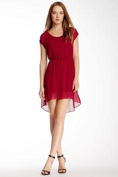 Chiffon Short Sleeve Hi-Lo Dress by Soprano on @nordstrom_rack
