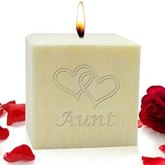 4 PALM WAX CANDLE  HEARTS FOR AUNT >>> Want additional info? Click on the image. #PillarCandle