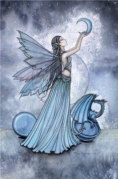 Fairy Dragon Fine Art Print 11 x 17 'Shades of Blue'
