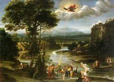 Landscape with the Baptism of Christ - Domenichino.  c.1603.  Oil on canvas.  122 x 170 cm.  Kunsthaus, Zurich, Switzerland.
