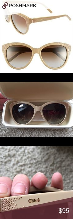"Chloe ""Suzanna"" 56mm cat eye sunglasses beige These are quite beautiful but I have too many sunnies. Never worn. No scratches on the lenses (though they are a smidge dusty). Comes with Chloe case and cleaning cloth but no outer box. Please ask questions or request additional photos if you'd like, I want you to be happy with your purchase! I do not model or trade ❌❌ Chloe Accessories Sunglasses"