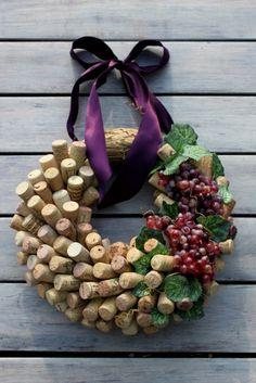 Cork & grape wreath for wine lovers