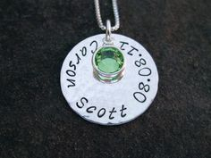 This one might be my favorite. I like how it includes the birthdate and birthstone. Gifts For Expecting Parents, Mom Jewelry, Silver Flats, Birthstone Charms, Box Chain, Sterling Silver Chains, Hand Stamped, Birthstones, Washer Necklace