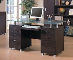 Coaster Furniture - Decarie Home Office Credenza - 800124 Contemporary Home Office, Home, Modern Glass Top Desk, Contemporary Office Desk, Glass Desk Office, Glass Top Desk, Office Furniture Modern, Home Office Computer Desk, Contemporary Office