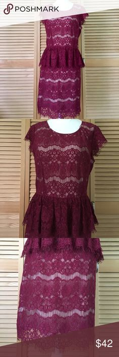 "Anthro Maeve crochet lace fringe peplum dress Anthropologie brand Maeve dress in size medium. 55% cotton, 45% nylon. Lining is 97% polyester, 3% spandex. Great condition. Only thing that may be off is a couple of the strands are looser on the left side of the neckline compared to the right side. It's like a dark raspberry with a nude lining. Zips in the back. V back. Laying flat measurements: 14.5"" across shoulders, 17.5"" pit to pit, 14.75"" across waist, 19"" from waist to bottom…"