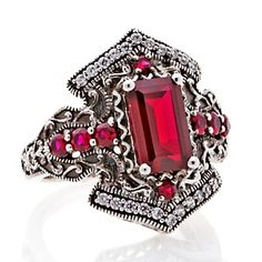 Xavier 2.96ct Absolute™ and Created Ruby Sterling Silver Vintage Istanbul-Inspired Ring at HSN.com.