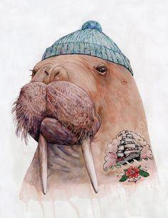 Tattooed Walrus art print by animalcrew on Etsy, $17.00
