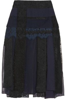 Nina Ricci Paneled lace, cloqué, georgette and silk-organza skirt | NET-A-PORTER