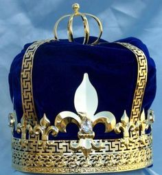 Imperial State Mens King Gold and blue Velvet Crown