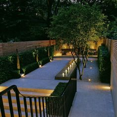 Landform Consultants - South Kensington This minimalist garden features an Andrew Ewing designed water feature, beautiful outdoor lighting, and elegant multi-stem Amelanchier lamarckii trees Modern Landscape Design, Modern Landscaping, Backyard Landscaping, Backyard Designs, Garden Features, Water Features, Minimalist Garden, Contemporary Garden, Garden Spaces