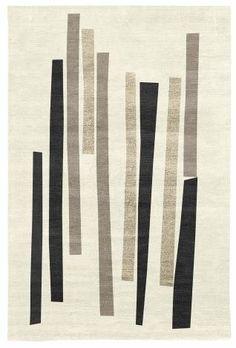 Judy Ross Hand-Knotted Custom Wool Bars Rug cream/black/iron silk/oyster silk