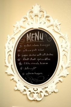 Pretty frame turned into chalkboard