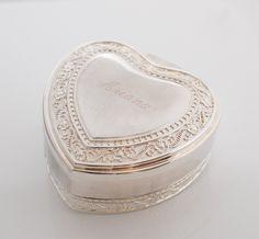 Personalized heart silver jewelry box