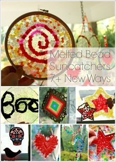 Melted Bead Suncatchers 7 New Ways from shapes and mobiles to Halloween decor Melted Bead Crafts, Pony Bead Crafts, Summer Crafts, Crafts For Kids, Arts And Crafts, Summer Fun, Melted Bead Suncatcher, Melted Pony Beads, Melting Beads