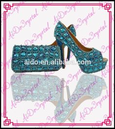 Aidocrystal Fashion Handmade Crystal Diamond Party Shoes And Bags Matching Wedding Shoe Bag Sets