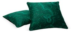 Pair of custom-designed pillows made with Tony Duquette-printed malachite fabric with black velvet backs. Patio Pillows, Throw Pillows, Cushions, Malachite, Home Accents, Fashion Forward, Pairs, Fabric, Design