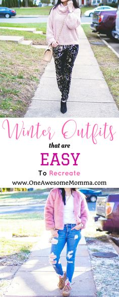 Looking for winter outfits that are easy to recreate? From distressed jeans, cozy sweaters, sequin pants, to fur coat, you're going to love this.  #momstyle #momfashion #winterfashion #winterstyle   easy to recreate outfit   ankle boots outfit   ankle boots how to wear   distressed jeans outfit   distressed jeans outfit winter   chenille sweater outfit   chenille sweater   cozy sweater outfits   cozy sweaters winter   sequin pants outfit   sequin pants outfit black   sequin pants black