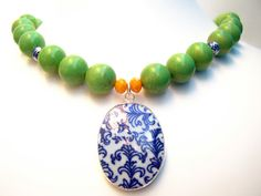 Ming Pottery Shard Necklace Green Beaded Necklace by polishedtwo, $28.00